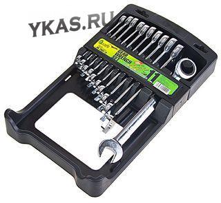 Alloid. Набор ключей комбинир., трещот., 11 предметов, 8-19 мм. с карданом