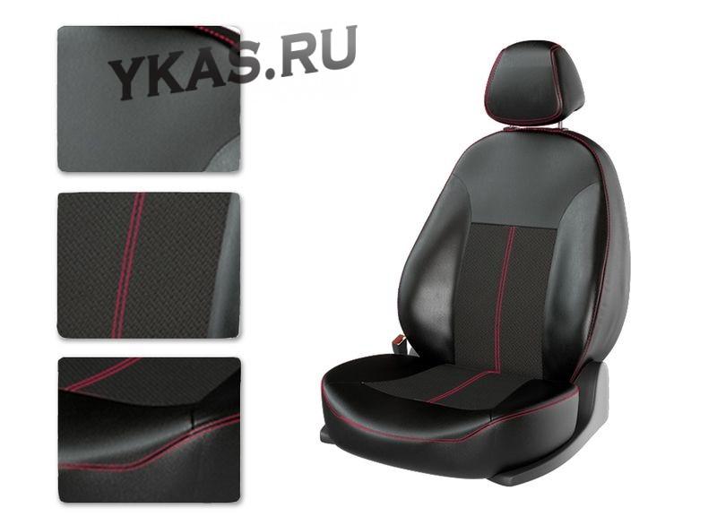 АВТОЧЕХЛЫ  Экокожа  Skoda  Rapid (компл. Aсtive / цельная.) с 2014г-  черный/черный/красны (Premium)