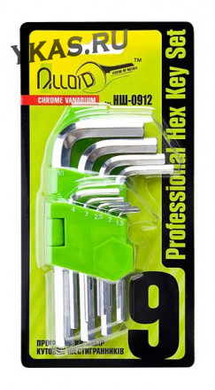 Alloid. Набор ключей шестигр., изогнутых. 9 пр. 1,5-10 мм.