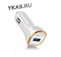 Адаптер в прикуриватель  Carlife  1USB (12/24V 3,1A) QC3.0 (быстрая зарядка) Белый
