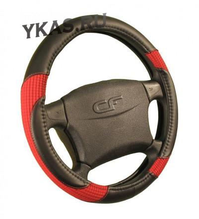Оплетка на руль   CF  CORD - М, Чёрный/Красный
