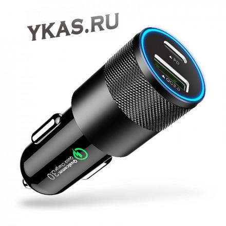 Адаптер в прикуриватель  Carlife  2USB (12/24V - 5V 3,5A +USB Type C) QC3.0 (быстрая зарядка) Черный