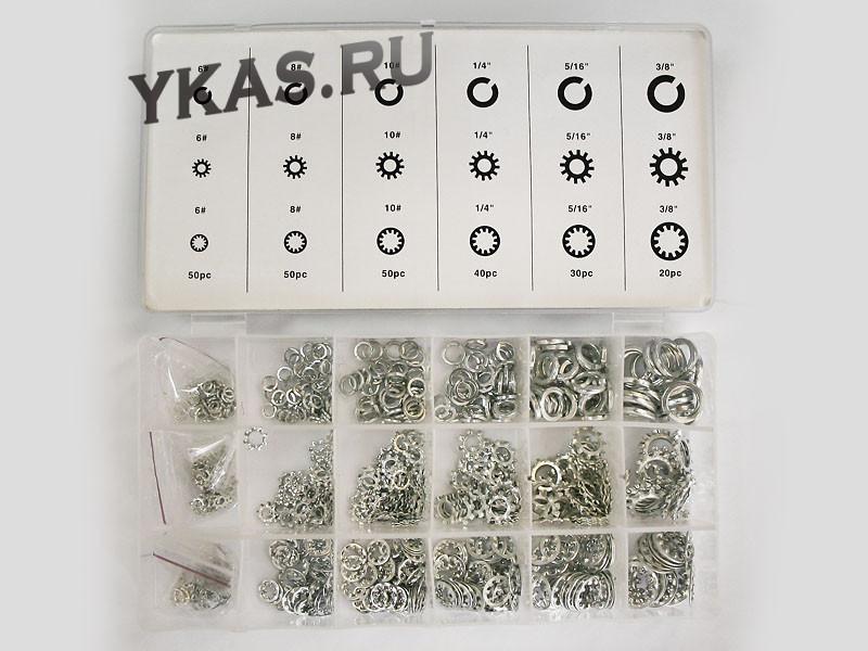Набор шайб (18 видов: гровер, зубчатые, стопорные, многолапчатые, 720шт) (625)