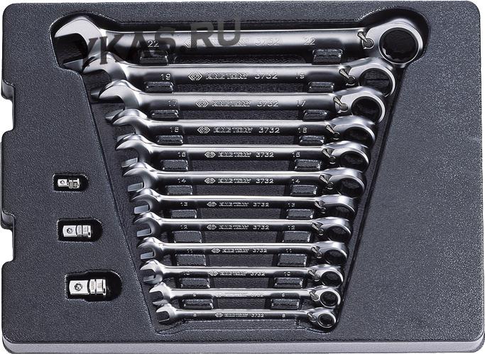 Набор комбинированных ключей с трещоткой,  15 предметов _37069