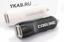 Адаптер в прикуриватель  CARLINE®  2хUSB (1A и 2.1А) в прикур. 12/24В, цвет белый