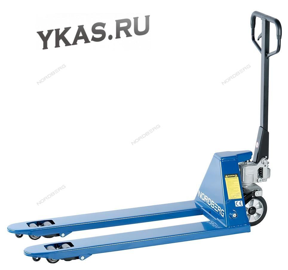 ТЕЛЕЖКА (Рохля) складская гидравлическая 2,5 т, усиленная, с резиновыми колесами_53879