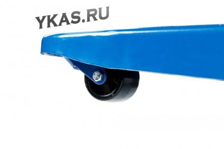 ТЕЛЕЖКА (РОХЛЯ) складская гидравлическая короткая 2,5 т, усиленная, с полиуретановыми колесами_53881