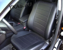 АВТОЧЕХЛЫ  Экокожа  Chevrolet Lacetti  с 2004- черный-серый ( с зад. подлокотником)