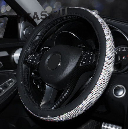 Оплетка на руль   Swarovski - М,  Черный с цветными стразами