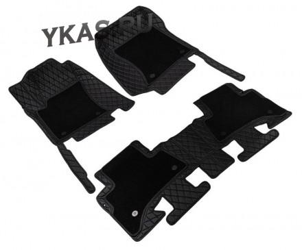 Коврики  Hyundai Creta 2014г.- черный с черной строчкой  5D PREMIUM