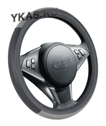 Оплетка на руль   CF  DAY - М, Чёрный/Серый (перфорация)