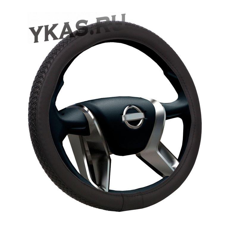 Оплетка на руль  VOIN  ELVIS  0401 M  экокожа, черный