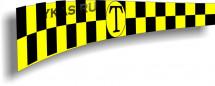 """Такси шашечки полоса магн.  """"TAXI"""" 10х30см, к-т 2шт , белый"""