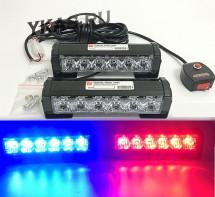 Стробоскоп 12  LED  красный/синий  170x45мм. с кнопкой