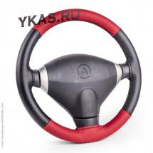 Оплетка на руль (обшив.)  Autoprofi  100 BK/RD M  (черн./красный) кож.зам ,перф. вставки