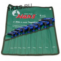 Инструмент HANS. Комплект угловых ключей L-TORX T10-T50,  9предм.(с отверстием)