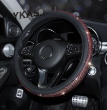 Оплетка на руль   Swarovski - М,  Черный с красными стразами