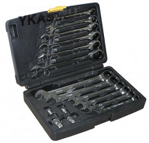 TJG.Набор трещоточных ключей 8-19мм 16предм.(S2304)