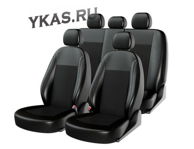 Чехлы  «ATOM LEATHER SMALL», черный/черный/черный  (Экокожа) ВАЗ 2109-2110