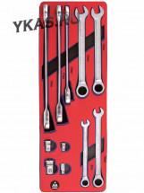 Набор комбинированных ключей с трещоткой, ложемент, 11 предметов _37699