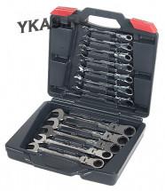 TJG.Набор трещоточных ключей с шарниром 8-19мм