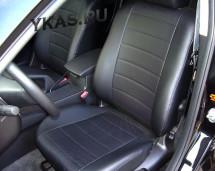 АВТОЧЕХЛЫ  Экокожа  VW Polo седан с 2010-2015г. черный-серый  (Цельная)