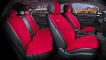 Комплект Накидок  «CALIFORNIA PLUS»  Красный/Красный/Чёрный  (велюр премиум класса)
