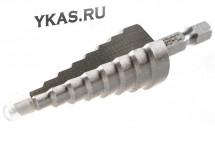 MATRIX СВЕРЛО 72361 ступенчатое по металлу 4-6-8-10-12-14-16-18-20мм, P6M5, шестигр. хвостовик_53927