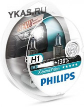 Автолампа Philips 12V   H1  55W  P14,5s  X-treme Vision (+130% света) Set 2 pcs.
