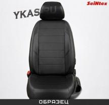 АВТОЧЕХЛЫ  Экокожа  Renault Duster  с 2015г-  черный-белый (раздел.) с Airbag