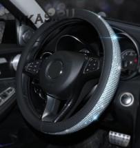 Оплетка на руль   Swarovski - М,  Черный с синими стразами