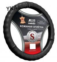 Оплетка на руль   AVS GL-296S-B,  Чёрный  (кожа)