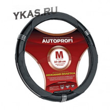 Оплетка на руль  Autoprofi  150 BK M  чёрный /хром кольца / кожа +кож.зам