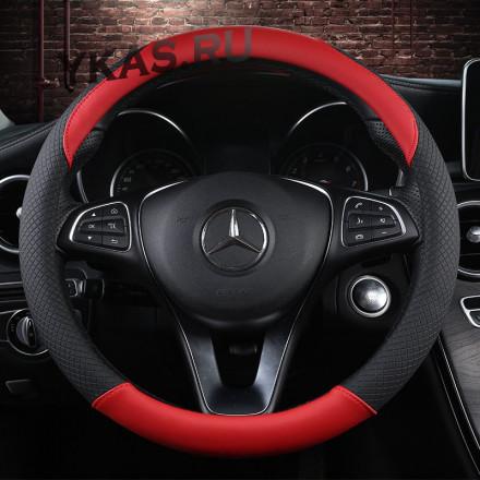 Оплетка на руль   Carlife  - М,  Чёрный/Красный (экокожа)
