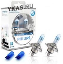 Автолампа Philips 12V   H4    60/55W  P43t-38  White Vision +60% Set 2шт +W5W 12V-5W (W2,1x9,5d)