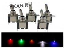 ЭТ Тумблер 12V 20A (3c) ON-OFF однополюсный LED зелёный