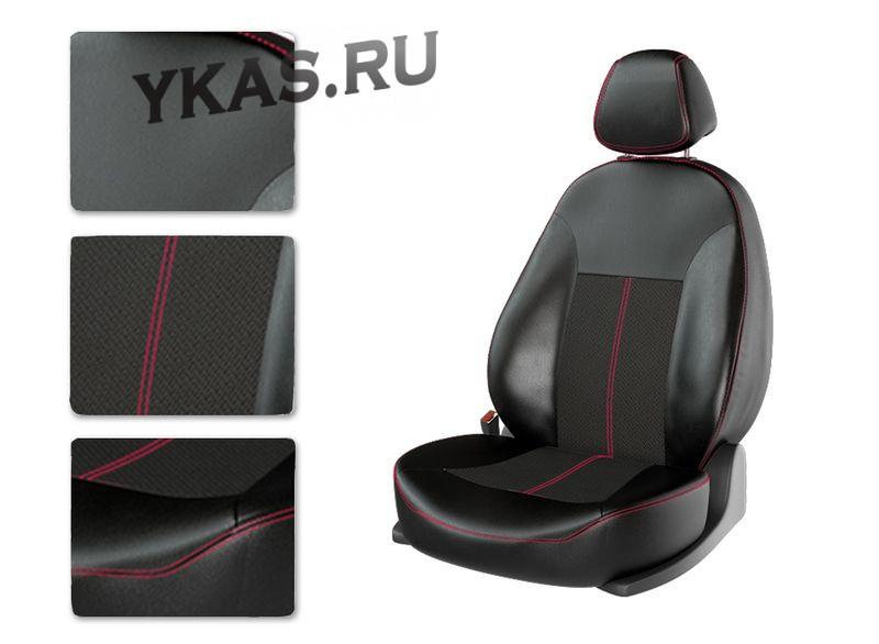 АВТОЧЕХЛЫ  Экокожа  Hyundai Solaris II  с 2017г- черный/черный/красный (Premium)