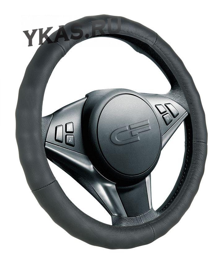 Оплетка на руль   CF  RIB - М,  Чёрный/БО (кожа)