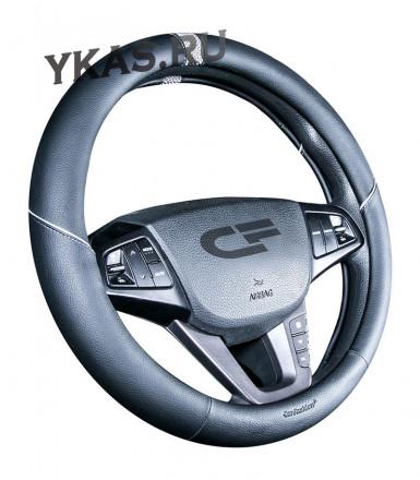 Оплетка на руль   CF  SECTOR - М,  Чёрный/Серый