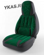 """Авточехол  """"PILOT LARGUS 7мест""""  ФОРСАЖ флок+кож.зам  Зеленый"""