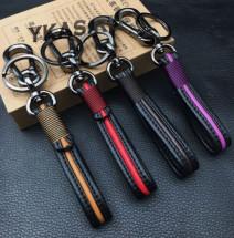 Брелок кожаный (держатель ключей) черный с темно-коричневой полосой
