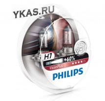 Автолампа Philips 12V   H7    55W  PX26d  VisionPlus +60% (к-т 2шт)