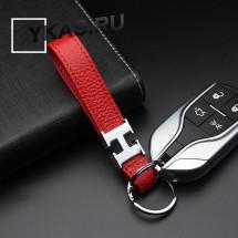 Брелок кожаный (держатель ключей) HERMES красный