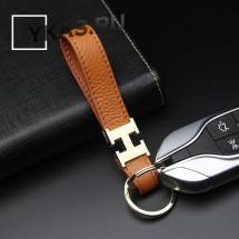 Брелок кожаный (держатель ключей) HERMES светло-коричневый