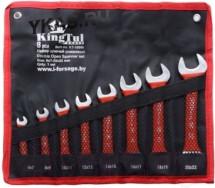 King Tul. Набор ключей рожковых в прорезин. оплетке,  8 предметов,  (6x7-20x22 мм.) на полотне