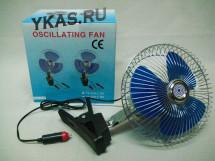 "Вентилятор 8"" KS 2112-1  12 V метал.(регулир.скор.,угол поворота 120 градусов на клипсе)"