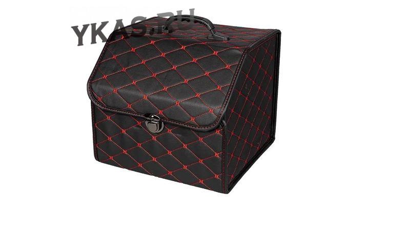 Сумка органайзер в багажник «S» 35/30/30 черный/шов красный