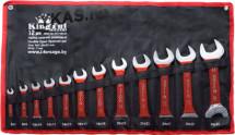King Tul. Набор ключей рожковых в прорезин. оплетке, 12 предметов,  (6x7-30x32 мм.) на полотне
