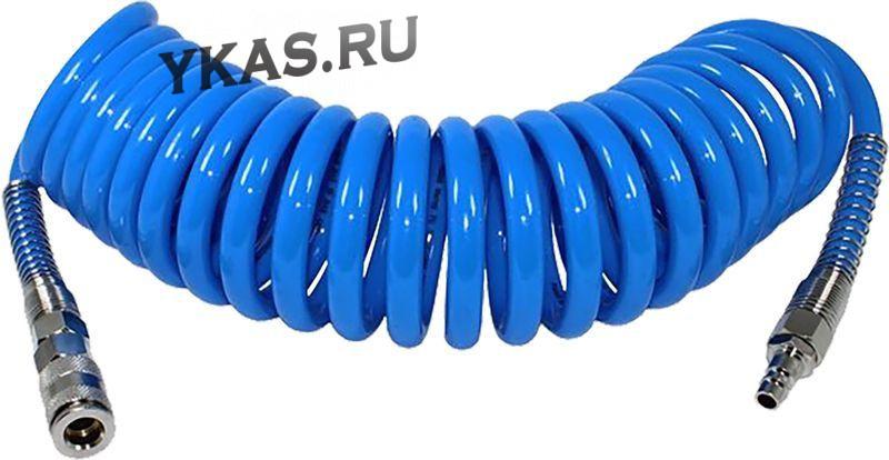 """Шланг PU спиральный  15м*12мм*8мм с быстросъёмом 1/4""""  """"М5"""""""