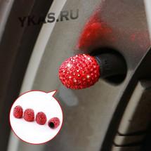 Колпачки на нипель  Swarovski  Красный (цена за 4шт)